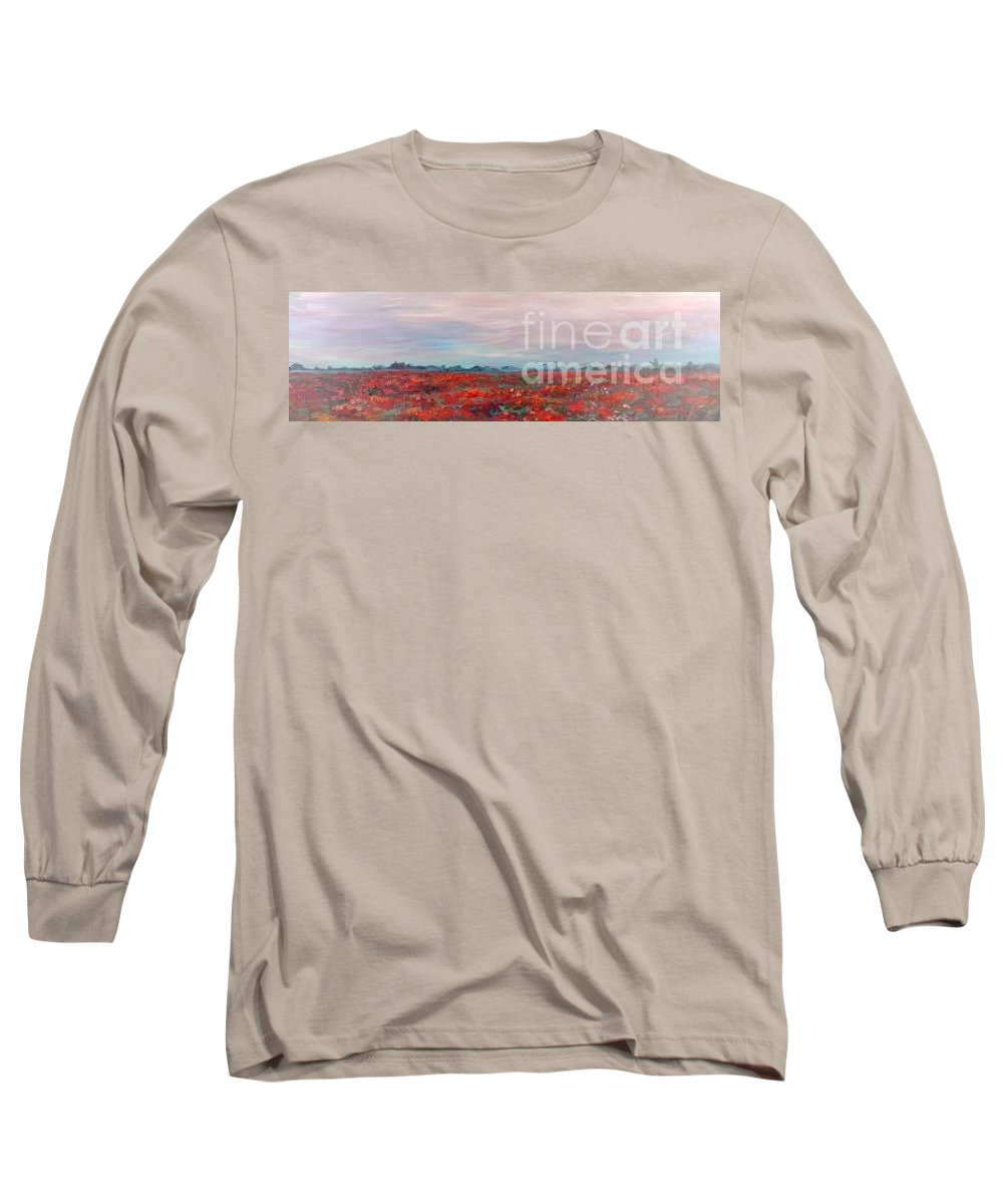 Poppies Long Sleeve T-Shirt featuring the painting Provence Poppies by Nadine Rippelmeyer
