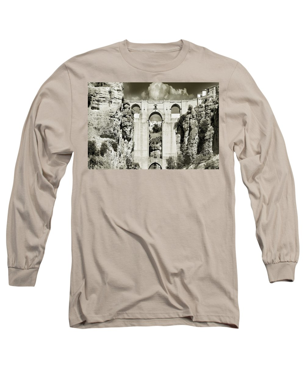 Bridge Long Sleeve T-Shirt featuring the photograph Puente Nuevo Tajo De Ronda Andalucia Spain Europe by Mal Bray