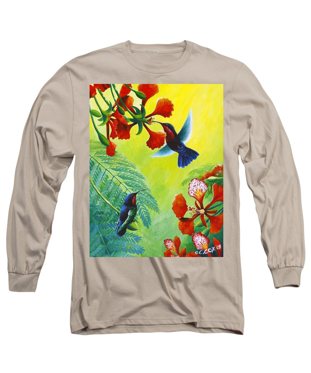 Chris Cox Long Sleeve T-Shirt featuring the painting Purple-throated Caribs And Flamboyant by Christopher Cox