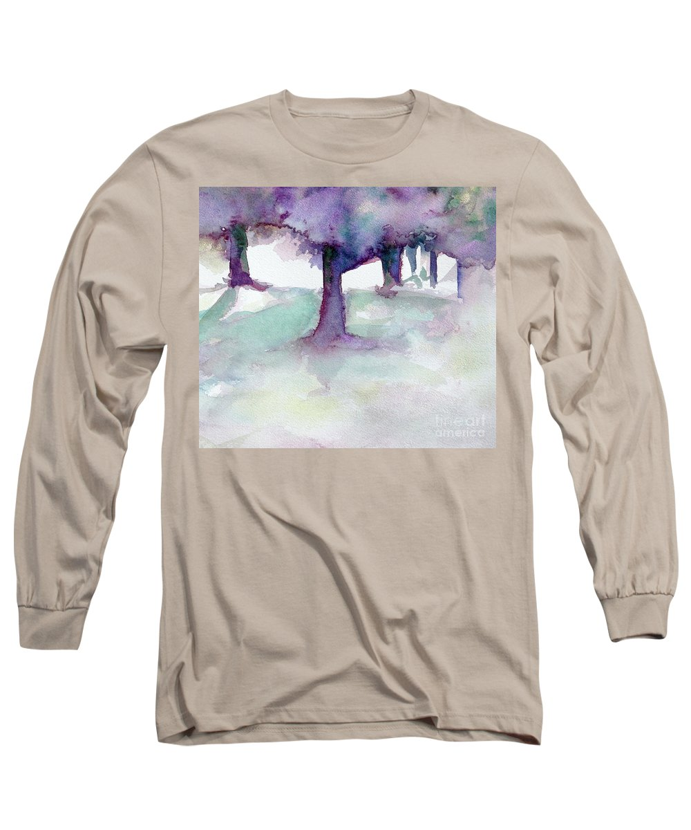 Landscape Long Sleeve T-Shirt featuring the painting Purplescape II by Jan Bennicoff