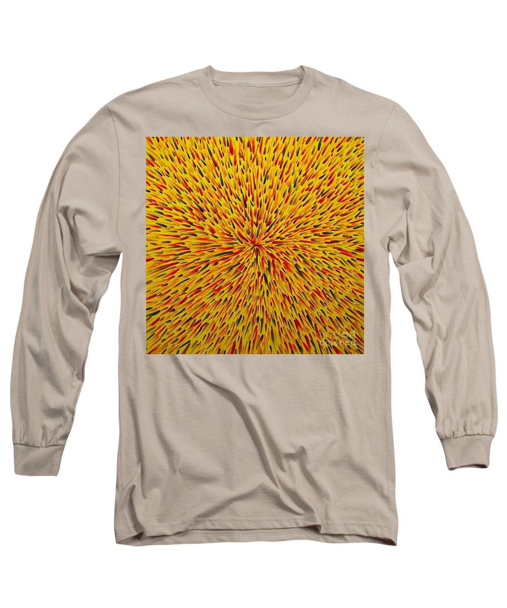 Abstract Long Sleeve T-Shirt featuring the painting Radiation Yellow by Dean Triolo