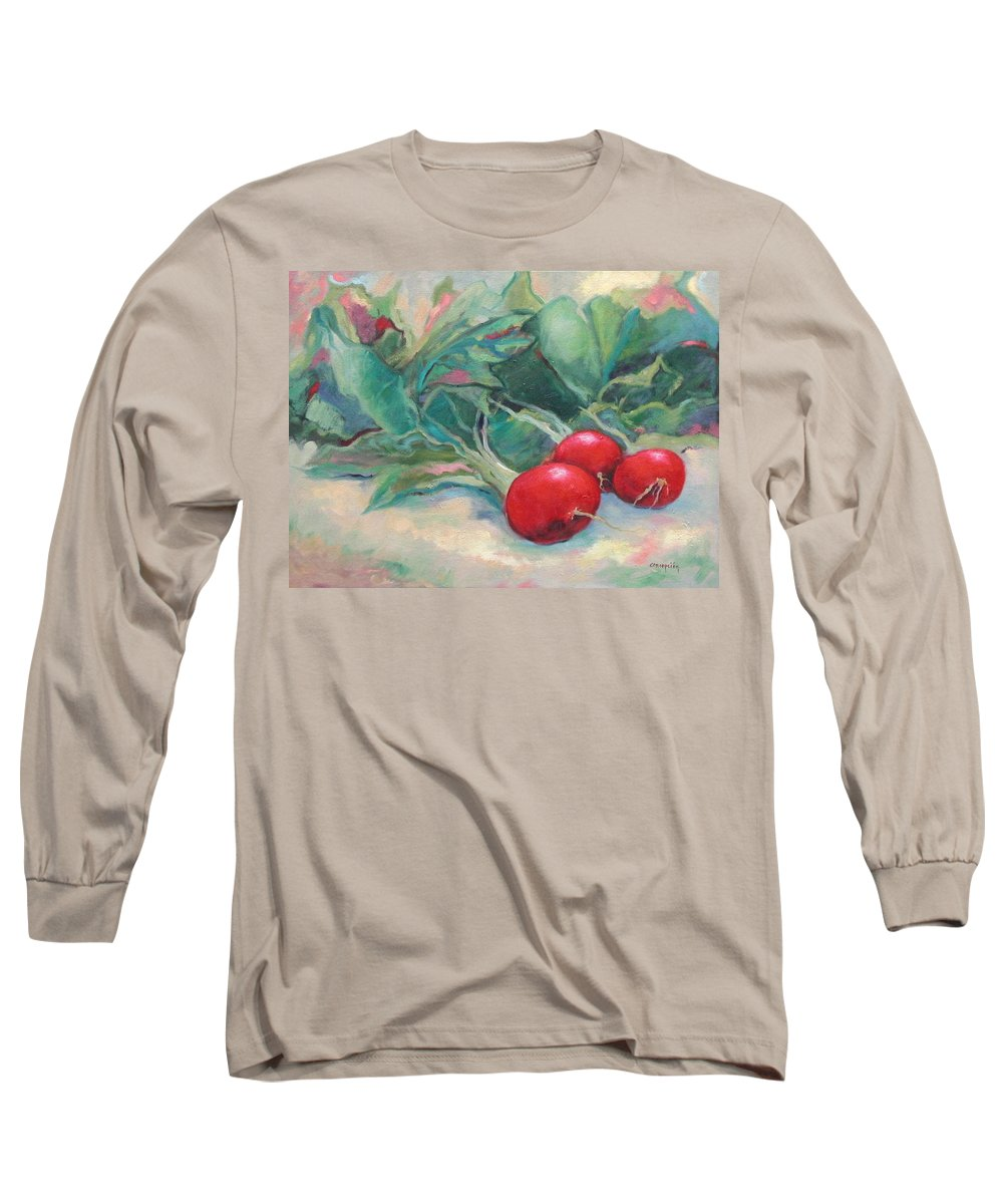 Radishes Long Sleeve T-Shirt featuring the painting Radishes by Ginger Concepcion