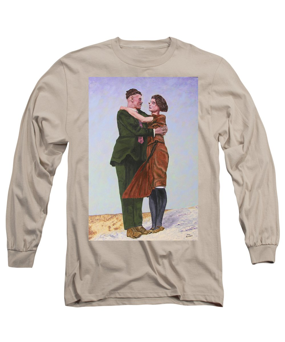Double Portrait Long Sleeve T-Shirt featuring the painting Ray And Isabel by Stan Hamilton