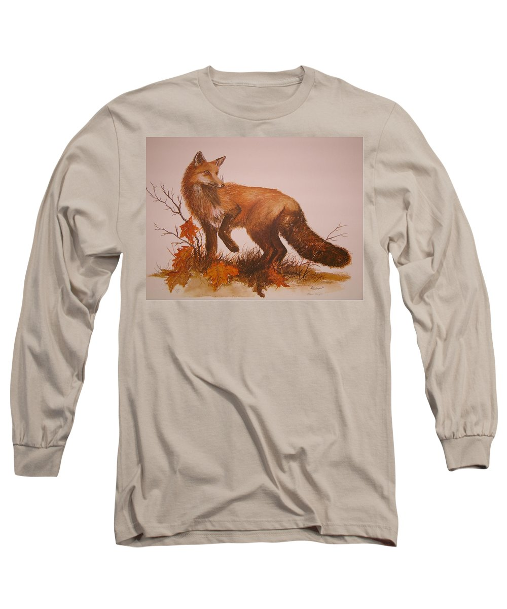 Nature Long Sleeve T-Shirt featuring the painting Red Fox by Ben Kiger