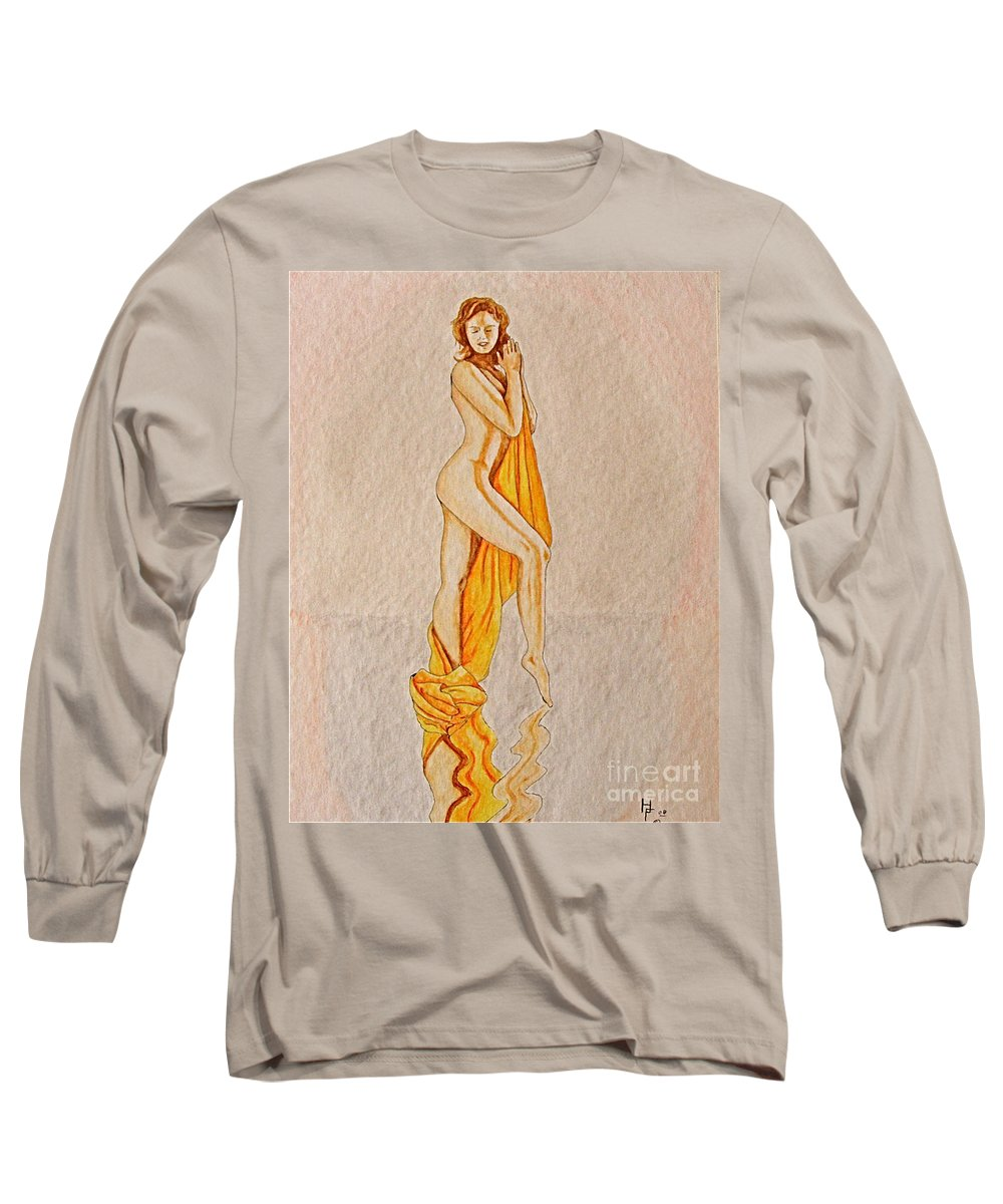 Nude Long Sleeve T-Shirt featuring the painting Reflection by Herschel Fall