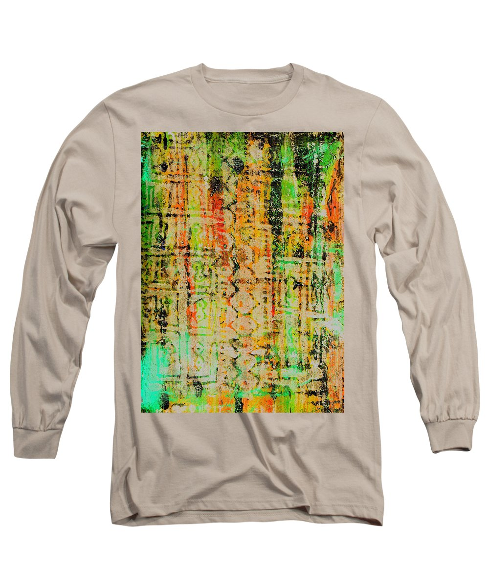Monoprint Long Sleeve T-Shirt featuring the painting Remnants Of The Homeland by Wayne Potrafka