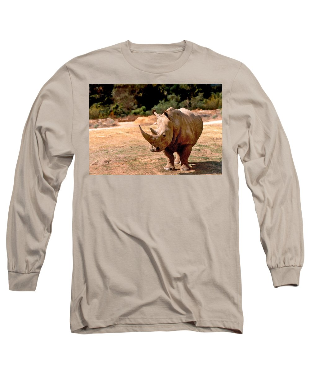 Animal Long Sleeve T-Shirt featuring the painting Rhino by Steve Karol