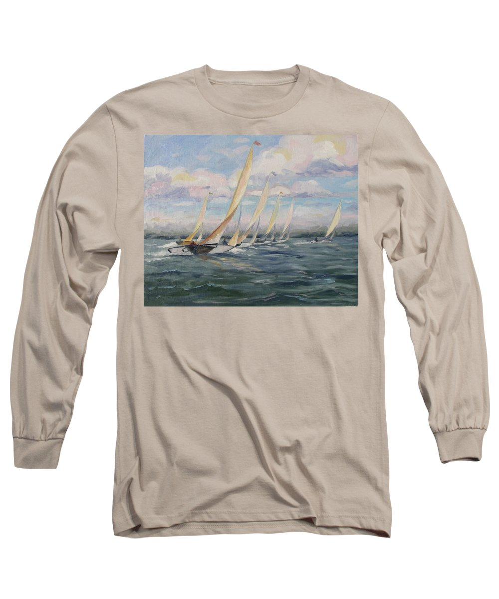 Riding Waves Long Sleeve T-Shirt featuring the painting Riding The Waves by Jay Johnson