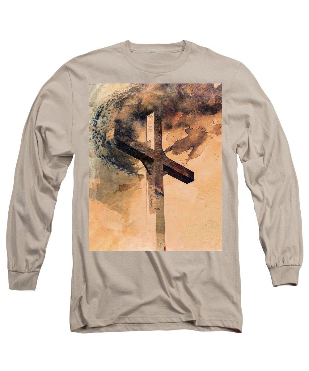 Cross Long Sleeve T-Shirt featuring the digital art Risen by Aaron Berg