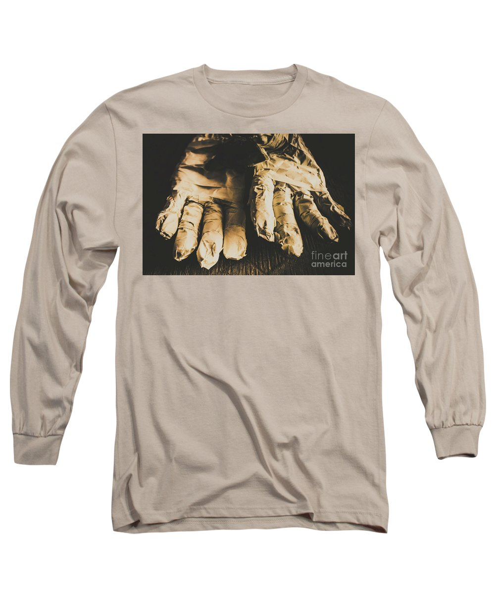Nightmare Long Sleeve T-Shirt featuring the photograph Rising Mummy Hands In Bandage by Jorgo Photography - Wall Art Gallery