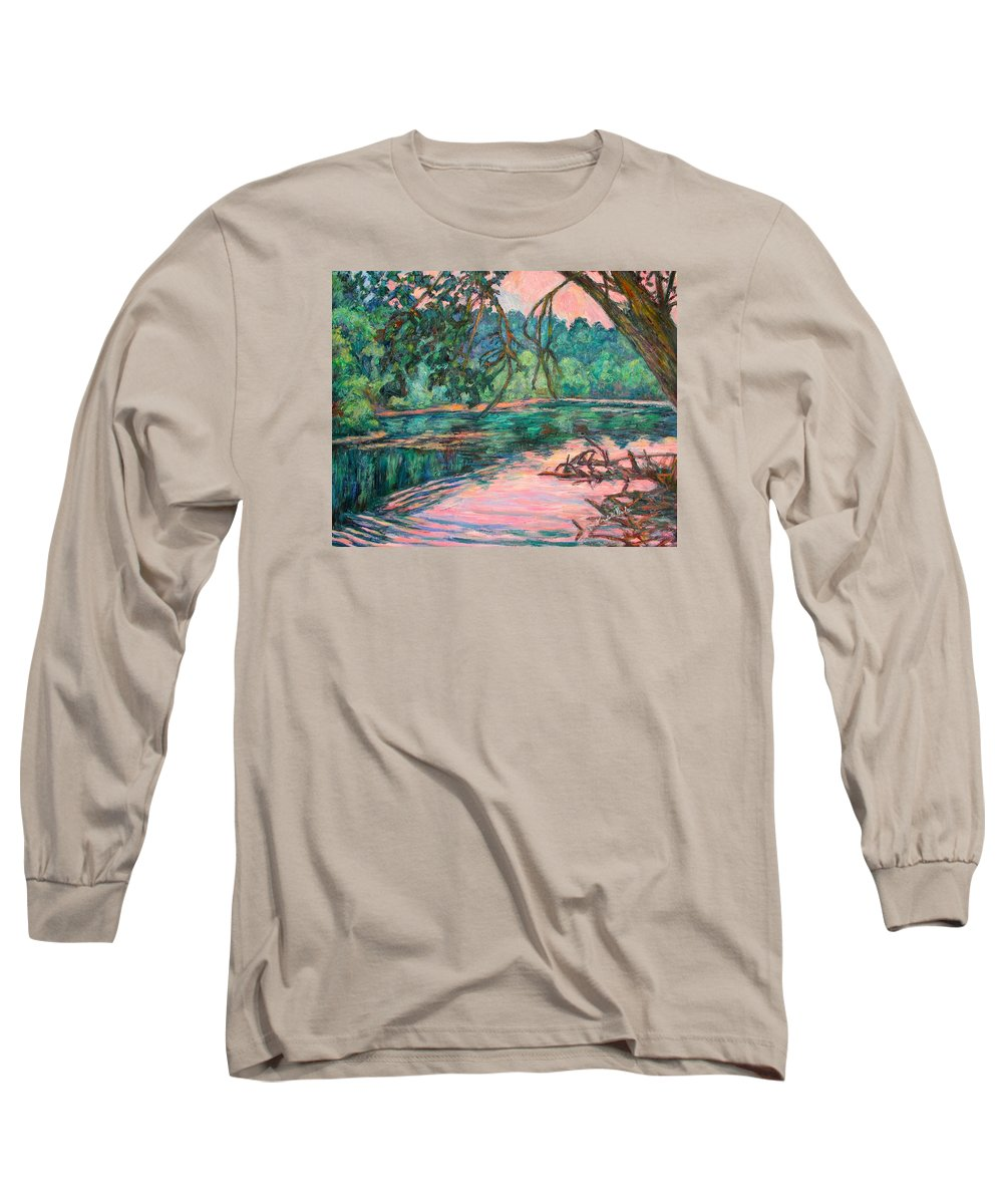 Riverview Park Long Sleeve T-Shirt featuring the painting Riverview At Dusk by Kendall Kessler