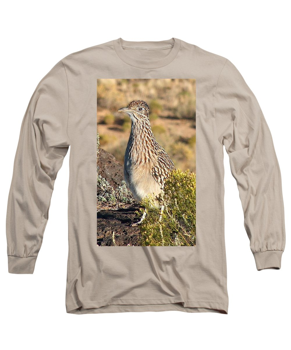 Roadrunner Long Sleeve T-Shirt featuring the photograph Roadrunnner At The Petroglyphs by Tim McCarthy