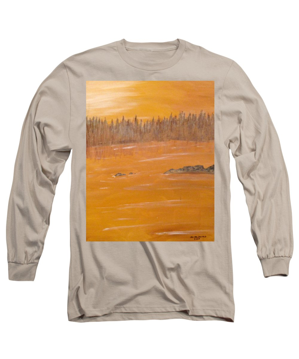 Northern Ontario Long Sleeve T-Shirt featuring the painting Rock Lake Morning 2 by Ian MacDonald