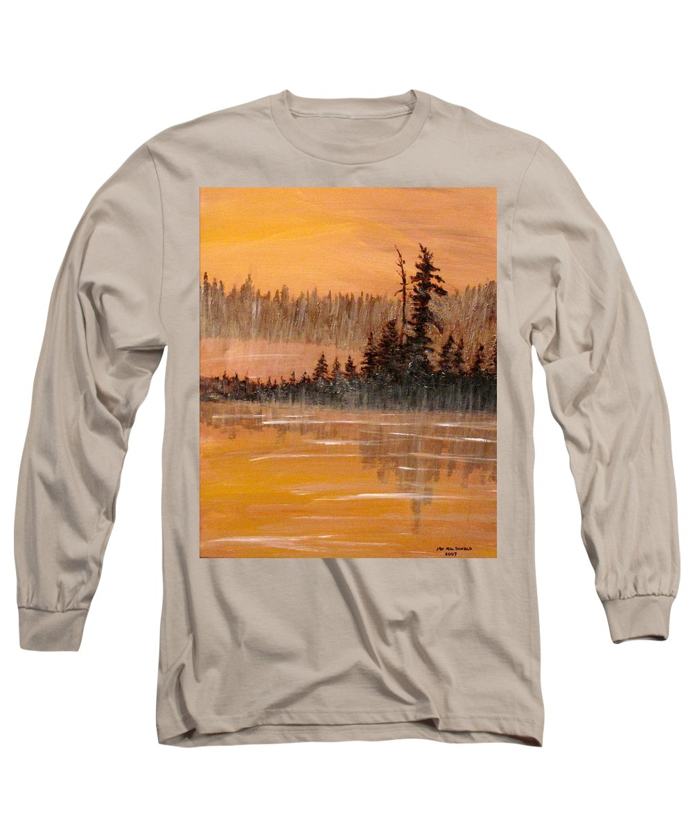 Northern Ontario Long Sleeve T-Shirt featuring the painting Rock Lake Morning 3 by Ian MacDonald