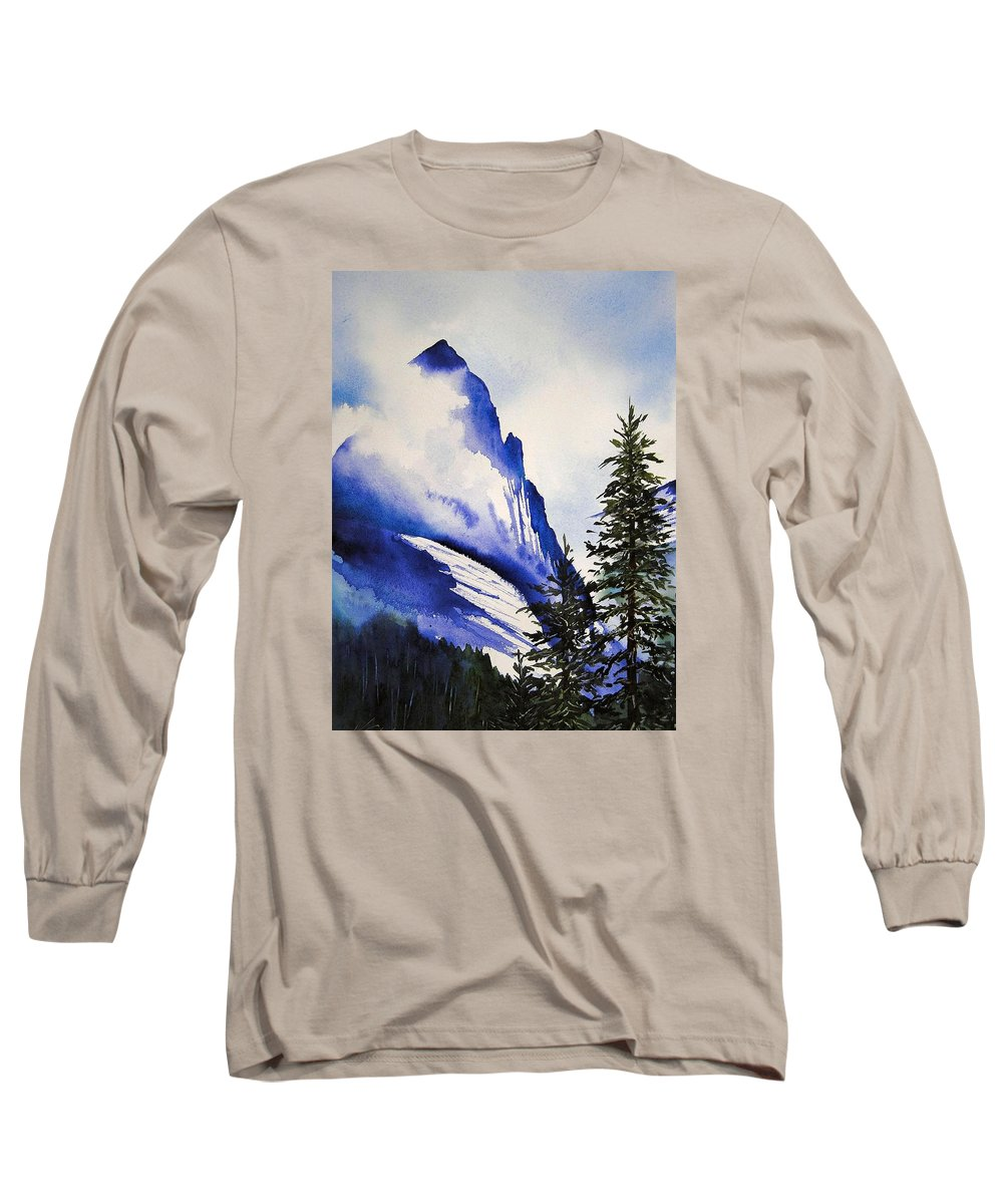 Rocky Mountains Long Sleeve T-Shirt featuring the painting Rocky Mountain High by Karen Stark