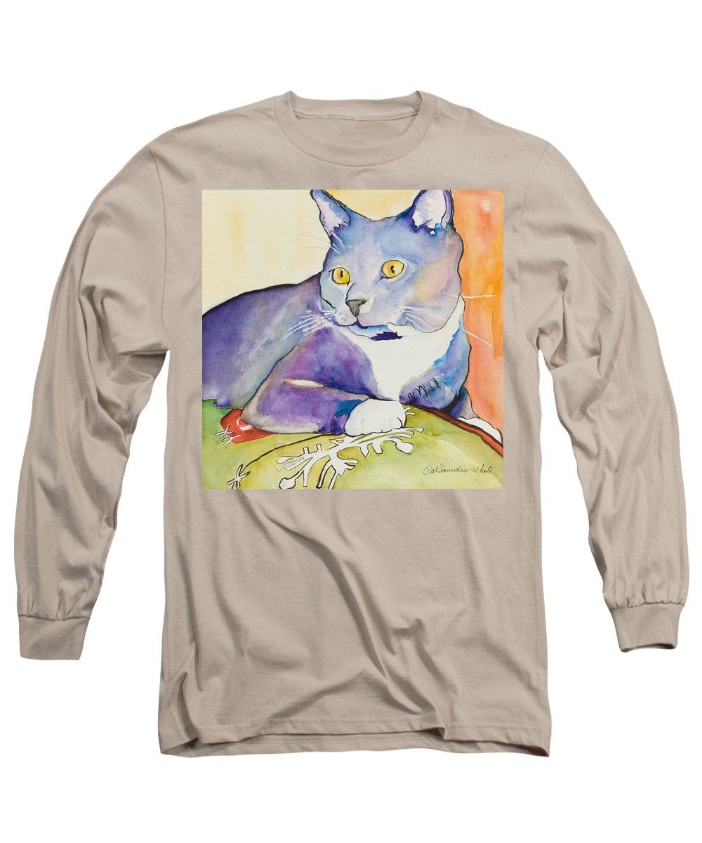 Pat Saunders-white Long Sleeve T-Shirt featuring the painting Rocky by Pat Saunders-White