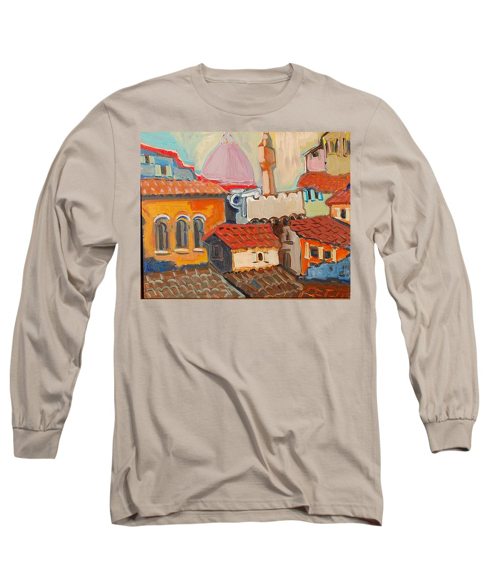 Florence Long Sleeve T-Shirt featuring the painting Rooftops by Kurt Hausmann