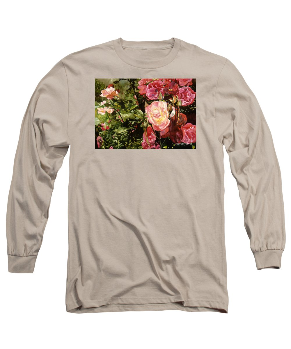 Watercolor Long Sleeve T-Shirt featuring the painting Rose Garden by Teri Starkweather