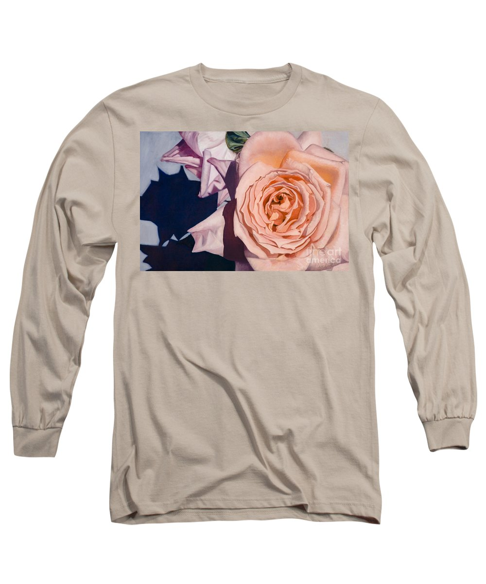 Roses Long Sleeve T-Shirt featuring the painting Rose Splendour by Kerryn Madsen-Pietsch