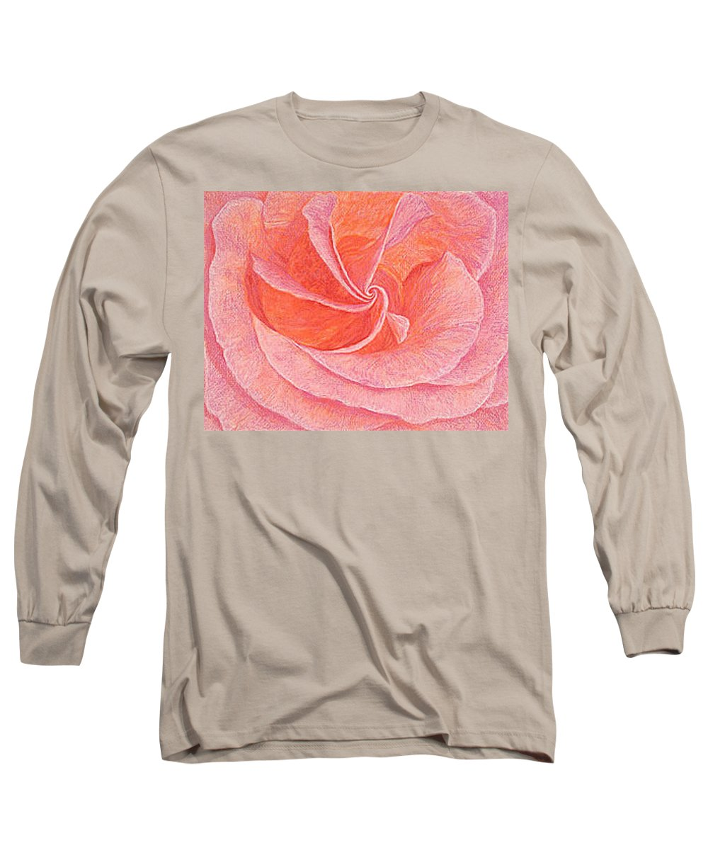 Art Print Prints Fine Giclee Canvas Framed Unframed Rose Pink Roses Garden Floral Flower Flowers Long Sleeve T-Shirt featuring the drawing Rose Sprial Pink Fine Art Print Giclee Garden Flower Floral Botanical Love Romance by Baslee Troutman