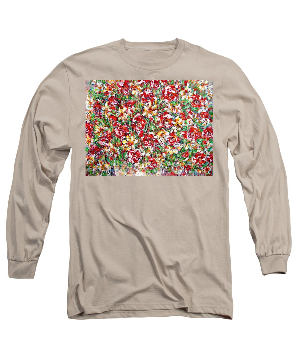 Red Roses Long Sleeve T-Shirt featuring the painting Roses For You by Natalie Holland