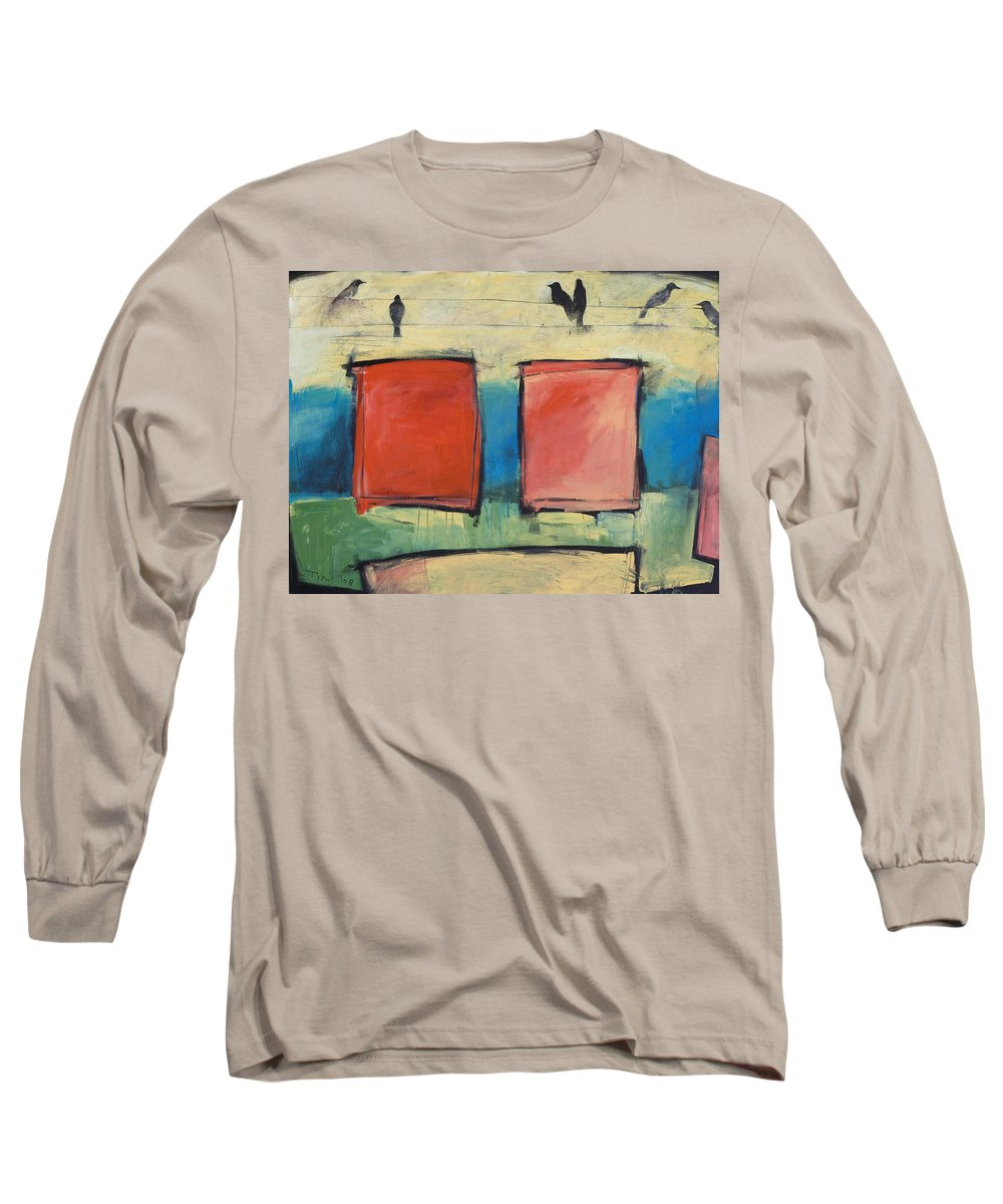 Rothko Long Sleeve T-Shirt featuring the painting Rothko Meets Hitchcock by Tim Nyberg