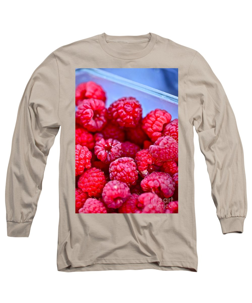 Red Long Sleeve T-Shirt featuring the photograph Ruby Raspberries by Nadine Rippelmeyer