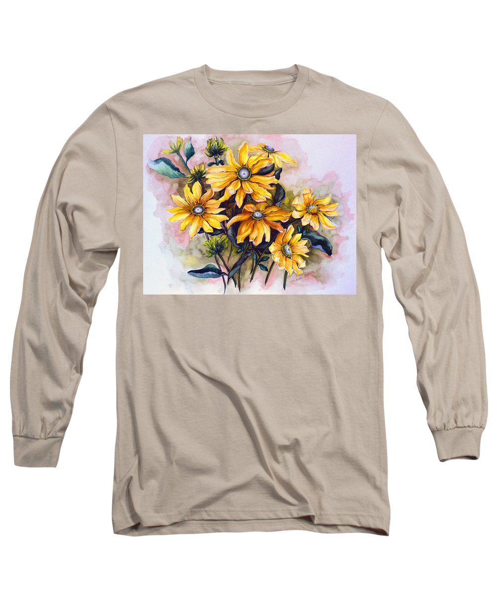 Flower Painting Sun Flower Painting Flower Botanical Painting  Original Watercolor Painting Rudebeckia Painting Floral Painting Yellow Painting Greeting Card Painting Long Sleeve T-Shirt featuring the painting Rudbeckia Prairie Sun by Karin Dawn Kelshall- Best