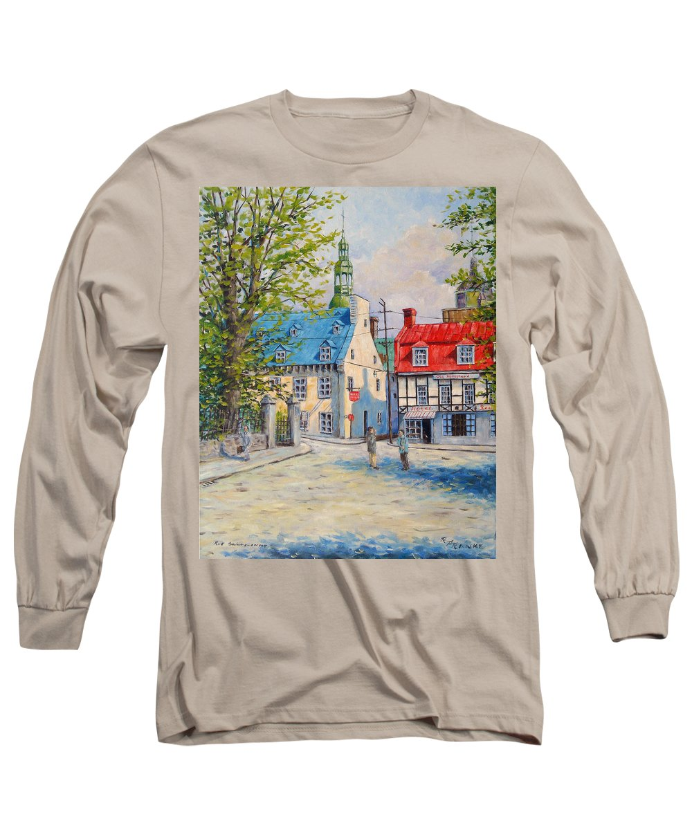 Ste Anne Long Sleeve T-Shirt featuring the painting Rue Ste Anne 1965 by Richard T Pranke