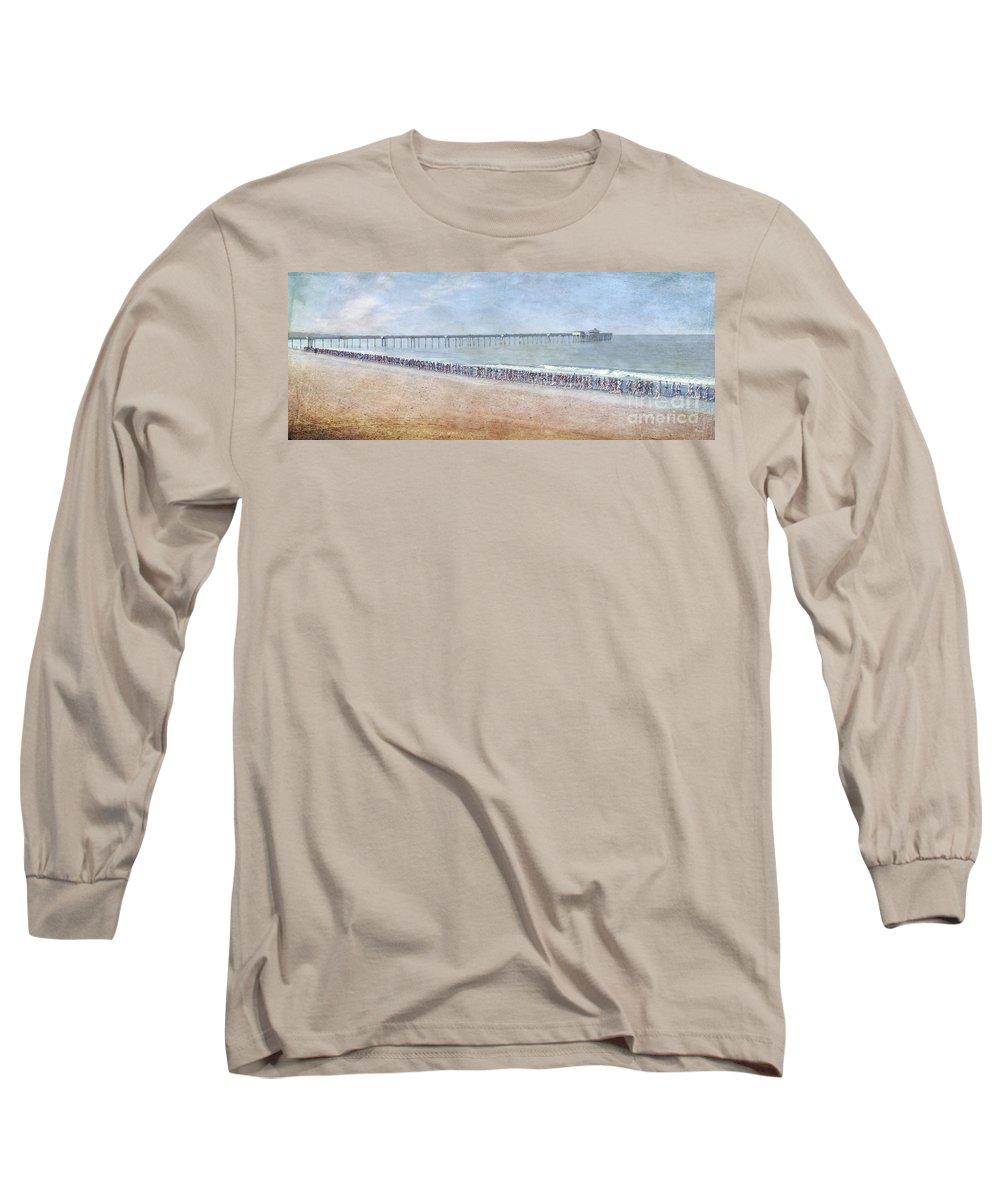 Runners On The Beach Panorama Long Sleeve T-Shirt featuring the photograph Runners On The Beach Panorama by David Zanzinger
