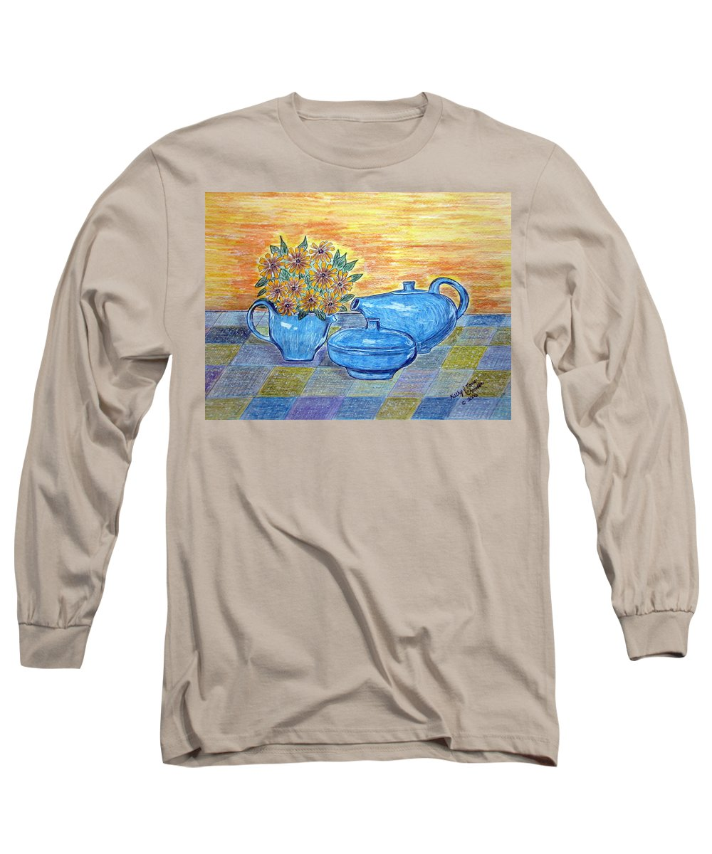 Russell Wright China Long Sleeve T-Shirt featuring the painting Russel Wright China by Kathy Marrs Chandler