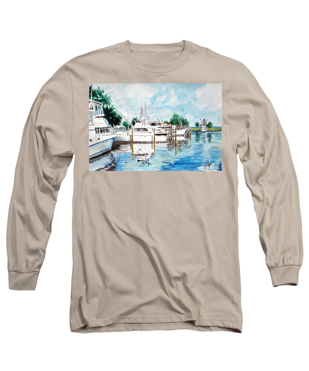 Boats Harbor Coastal Nautical Long Sleeve T-Shirt featuring the painting Safe Harbor by Jim Phillips