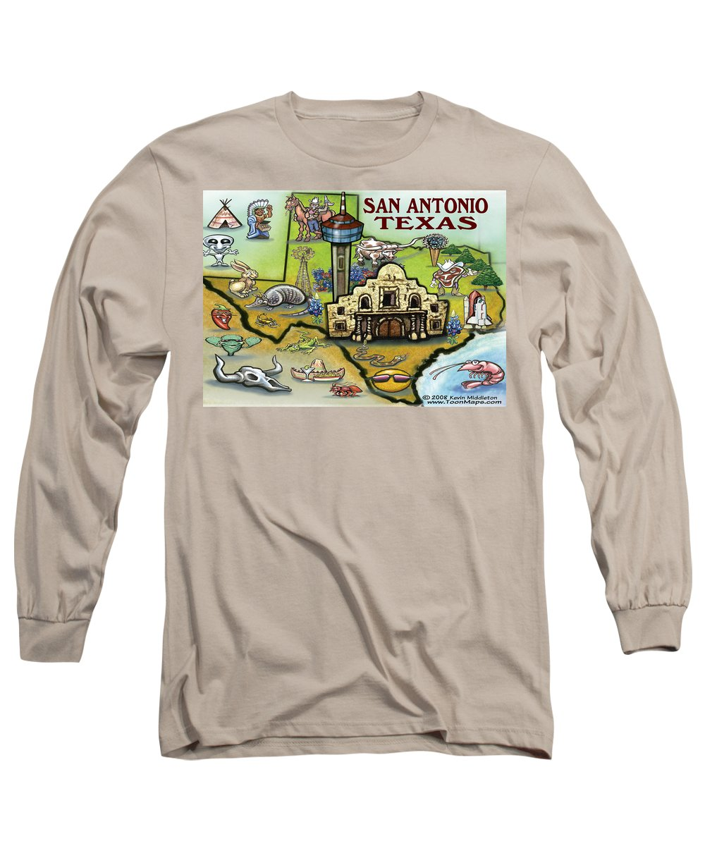 San Antonio Long Sleeve T-Shirt featuring the digital art San Antonio Texas by Kevin Middleton