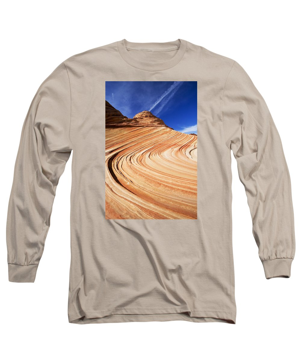 The Wave Long Sleeve T-Shirt featuring the photograph Sandstone Slide by Mike Dawson
