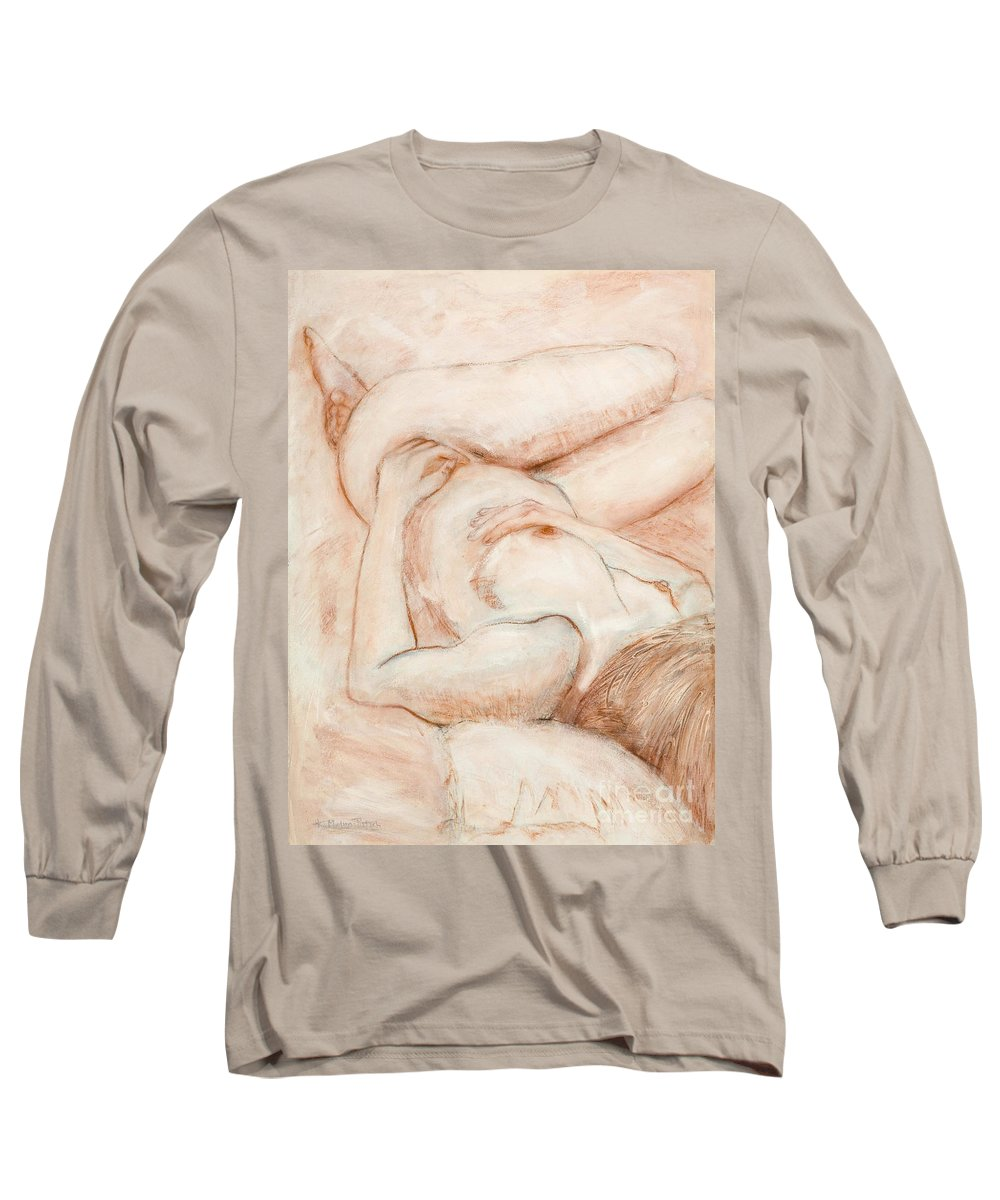 Female Long Sleeve T-Shirt featuring the drawing Sanguine Nude by Kerryn Madsen-Pietsch