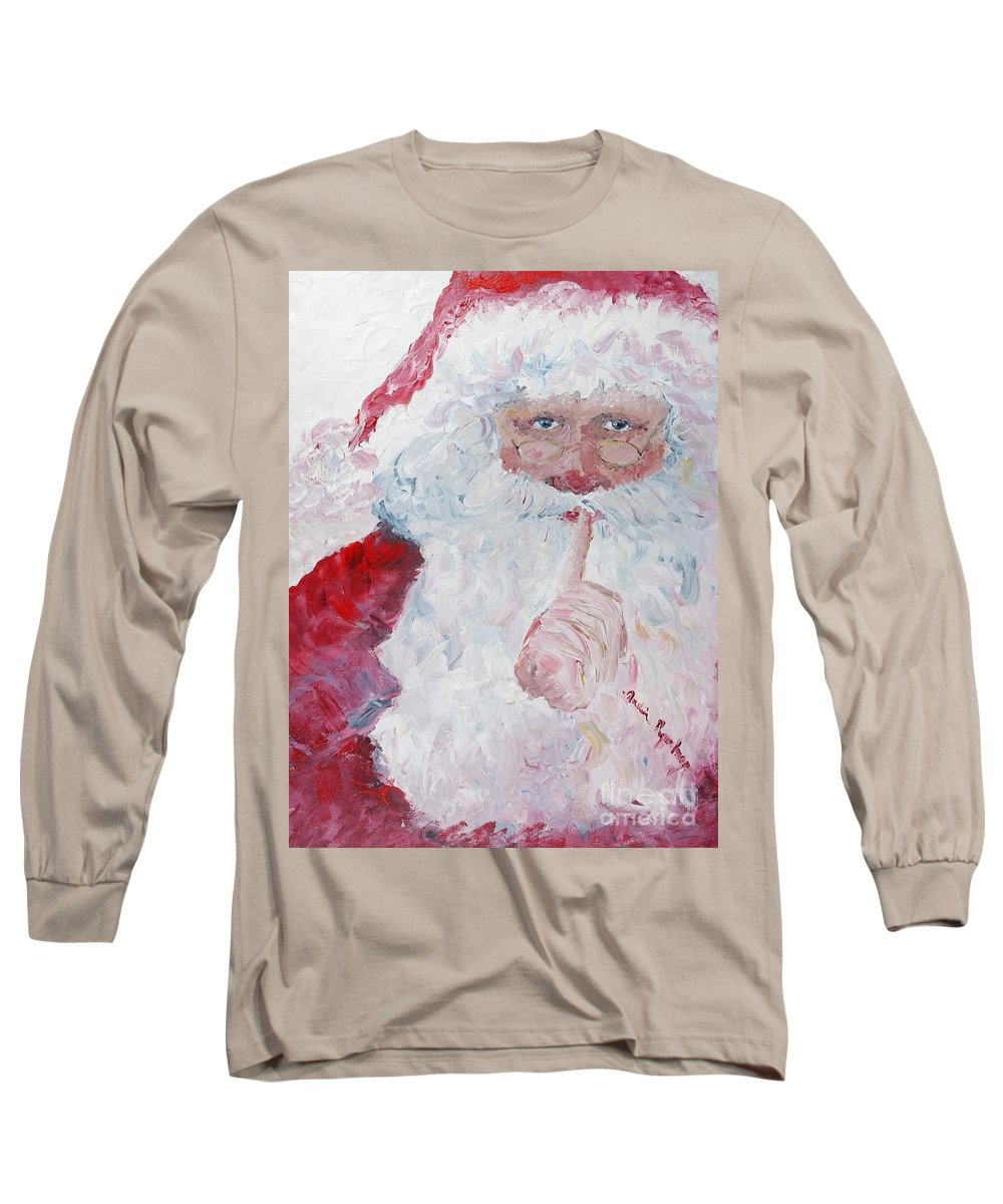Santa Long Sleeve T-Shirt featuring the painting Santa Shhhh by Nadine Rippelmeyer