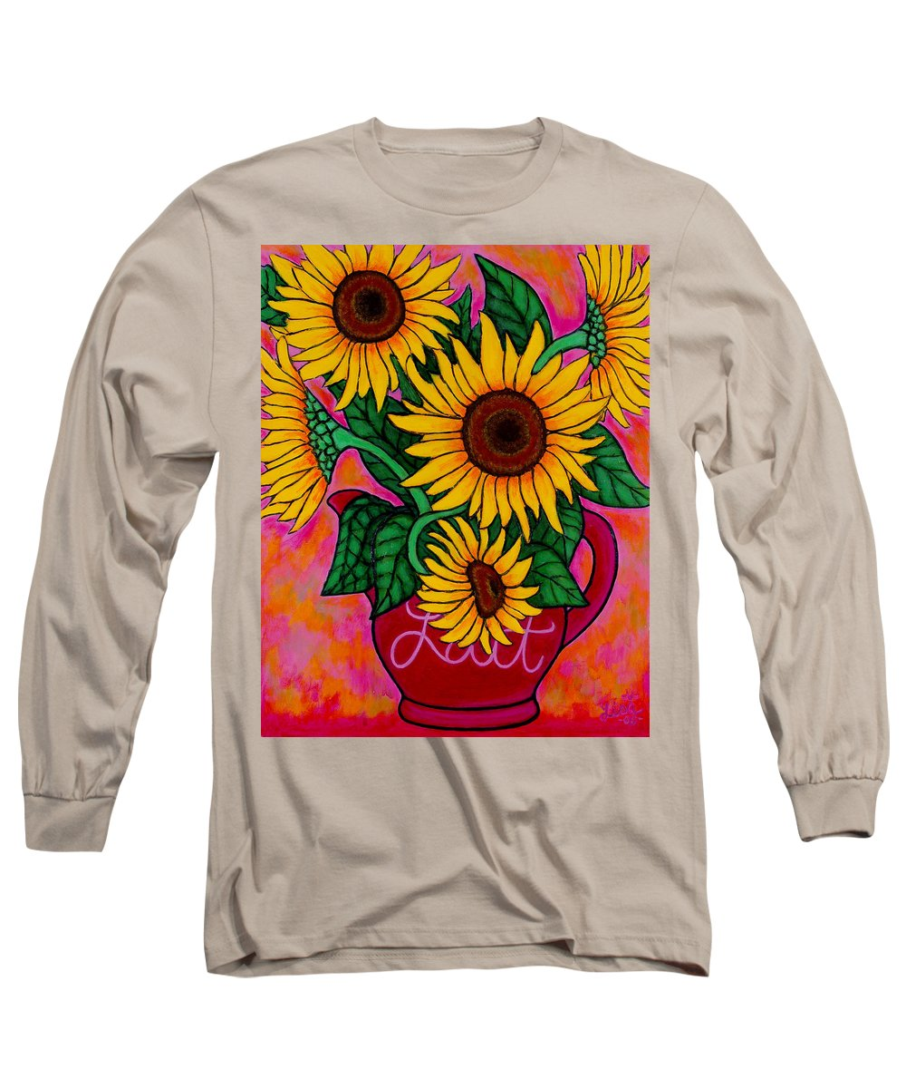 Sunflowers Long Sleeve T-Shirt featuring the painting Saturday Morning Sunflowers by Lisa Lorenz