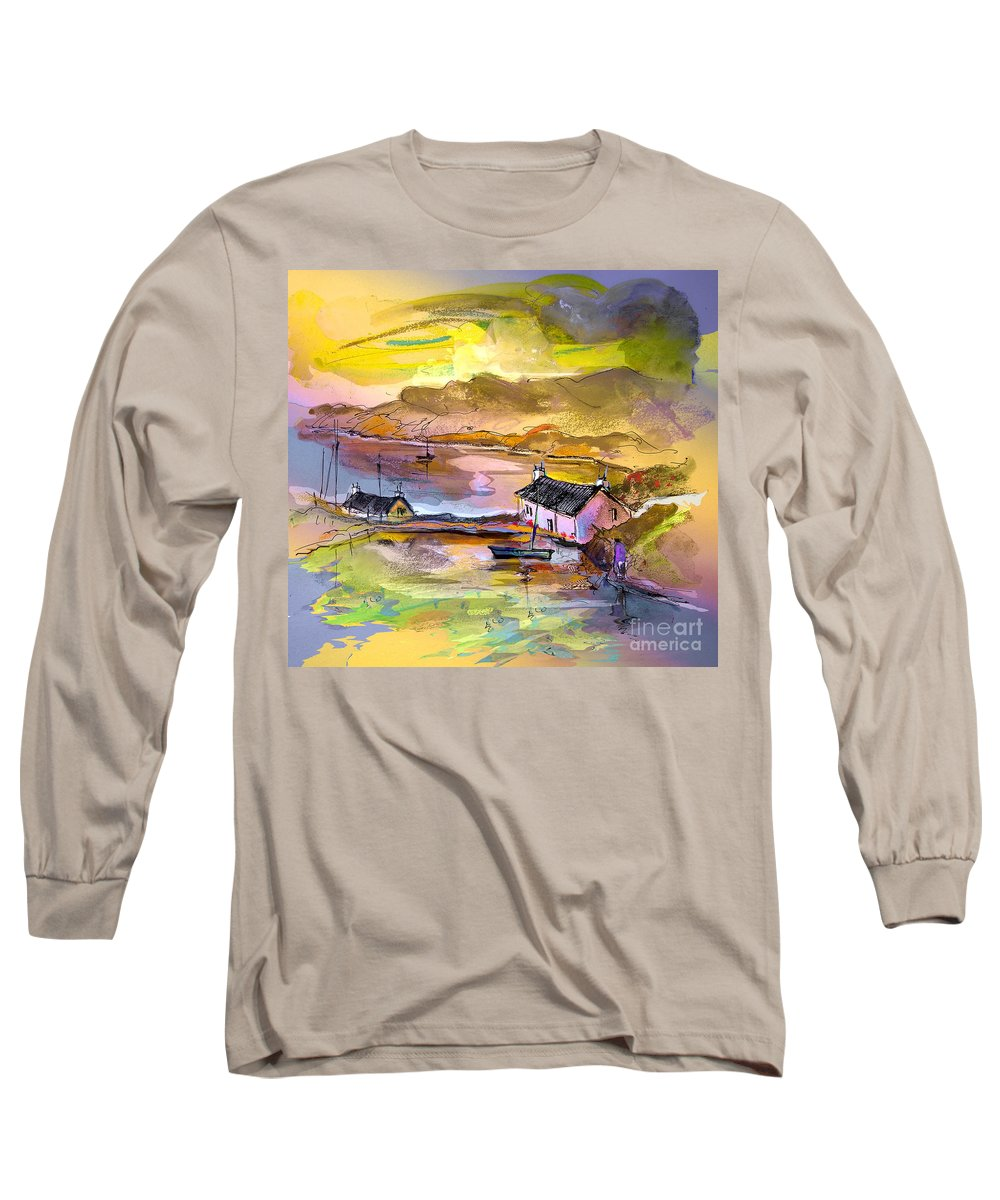 Scotland Paintings Long Sleeve T-Shirt featuring the painting Scotland 11 by Miki De Goodaboom
