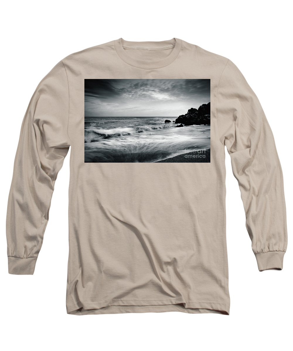 Seascape Long Sleeve T-Shirt featuring the photograph Sea Waves On The Beach by Dimitar Hristov