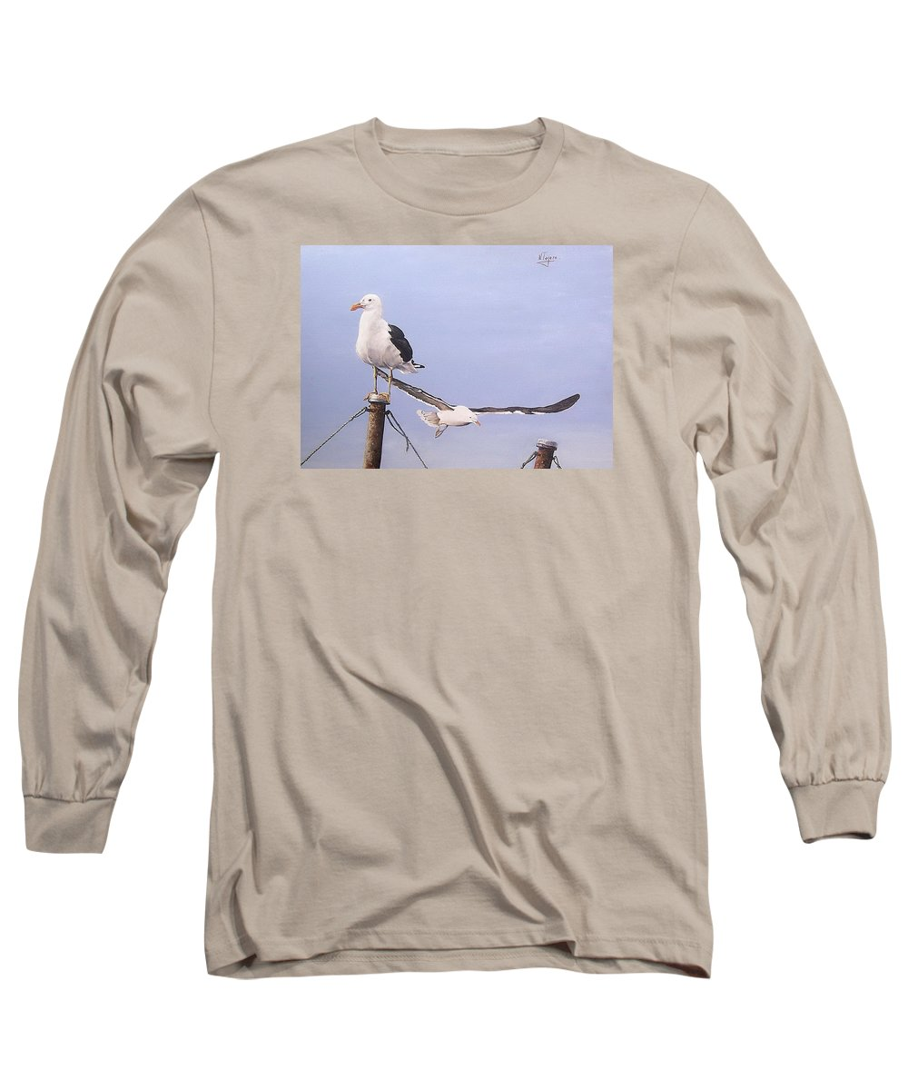 Seascape Gulls Bird Sea Long Sleeve T-Shirt featuring the painting Seagulls by Natalia Tejera