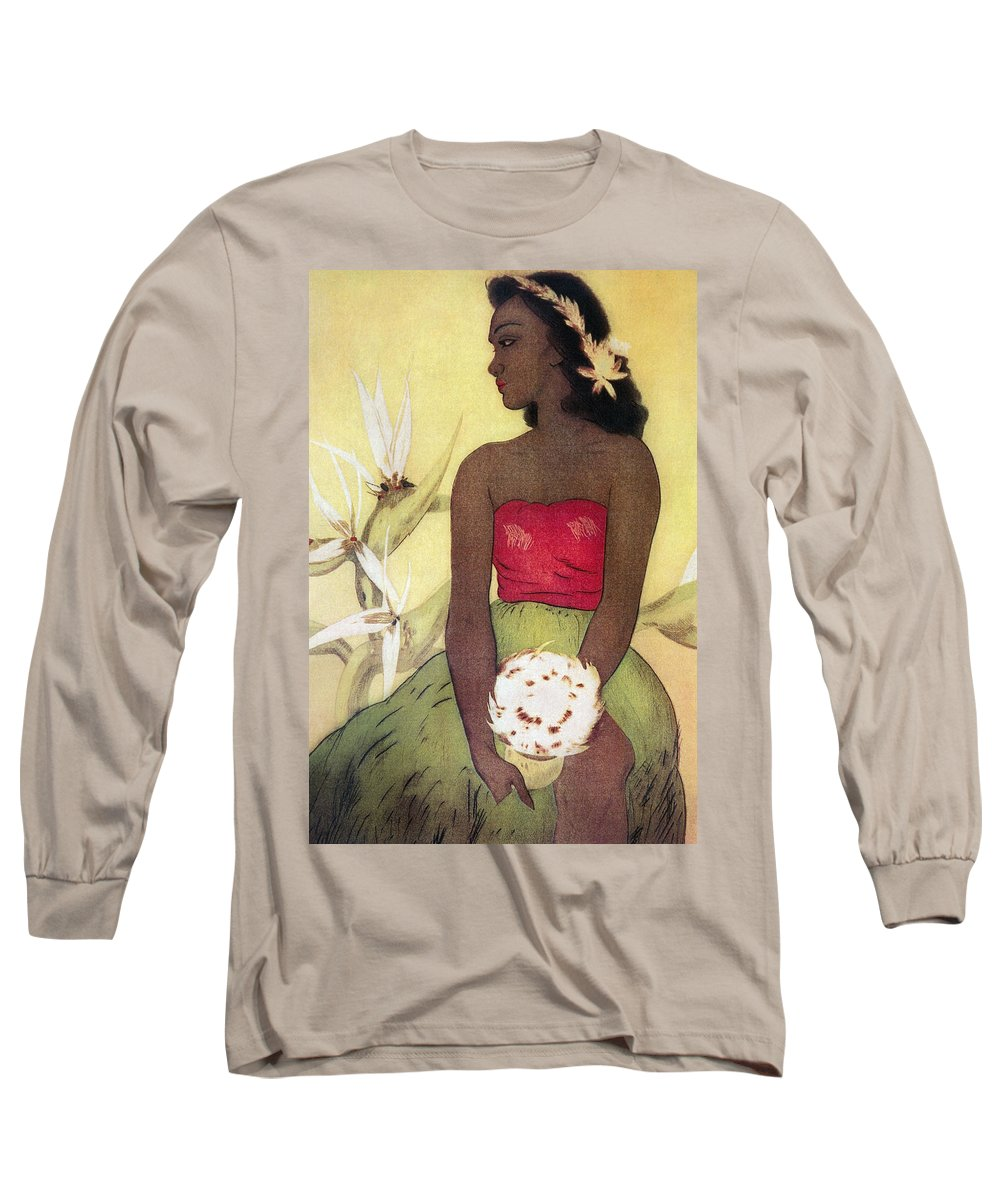 1940 Long Sleeve T-Shirt featuring the painting Seated Hula Dancer by Hawaiian Legacy Archives - Printscapes