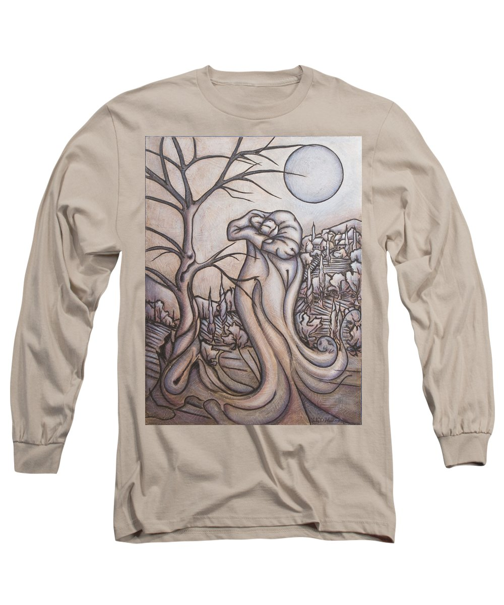 Dream. Moon Long Sleeve T-Shirt featuring the painting Secrets And Dreams by Judy Henninger