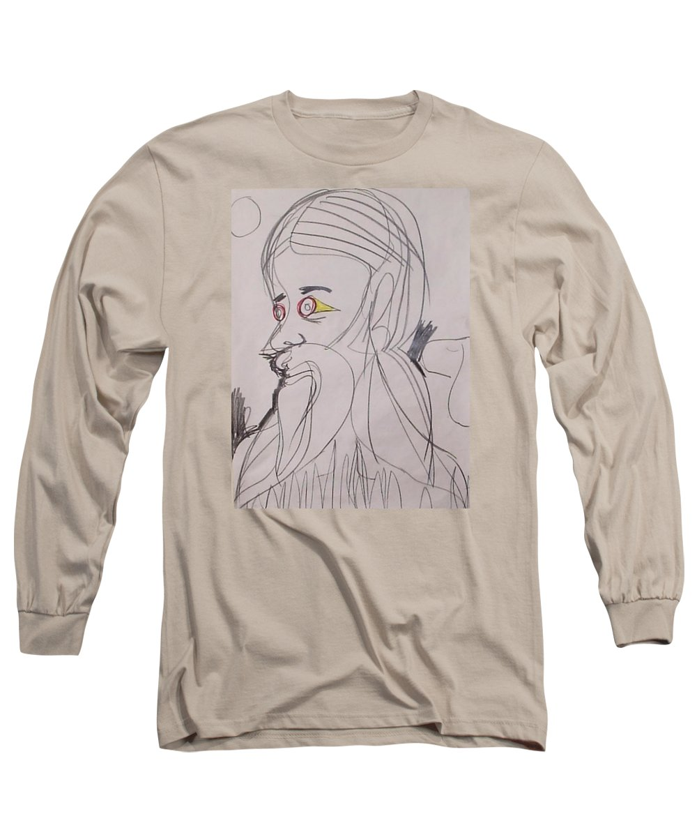 Self Portrait Moon Dog Birds Alter Ego Surreal Aggressive Long Sleeve T-Shirt featuring the drawing Self-portrait by William Douglas