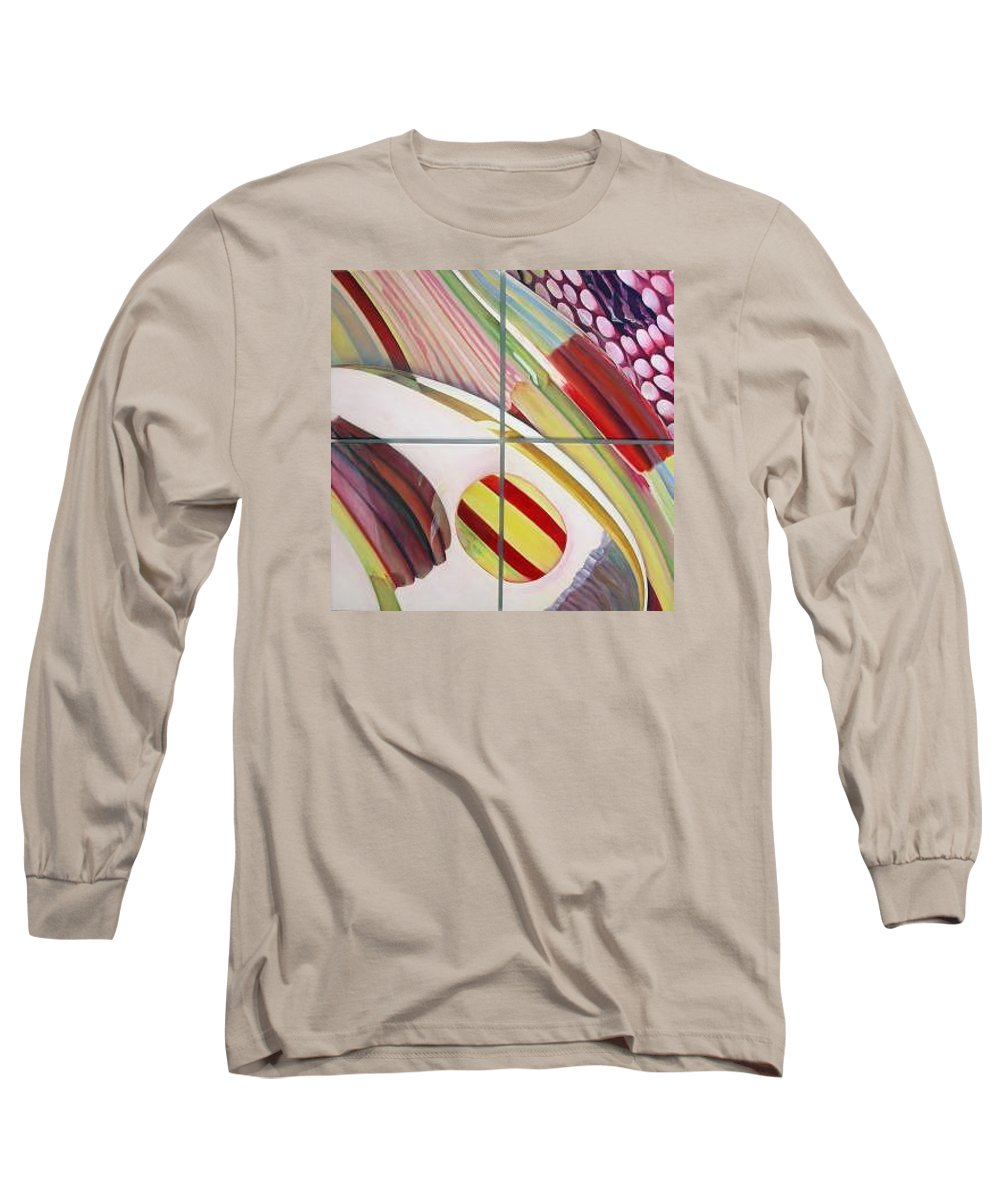 Abstract Long Sleeve T-Shirt featuring the painting Sens by Muriel Dolemieux