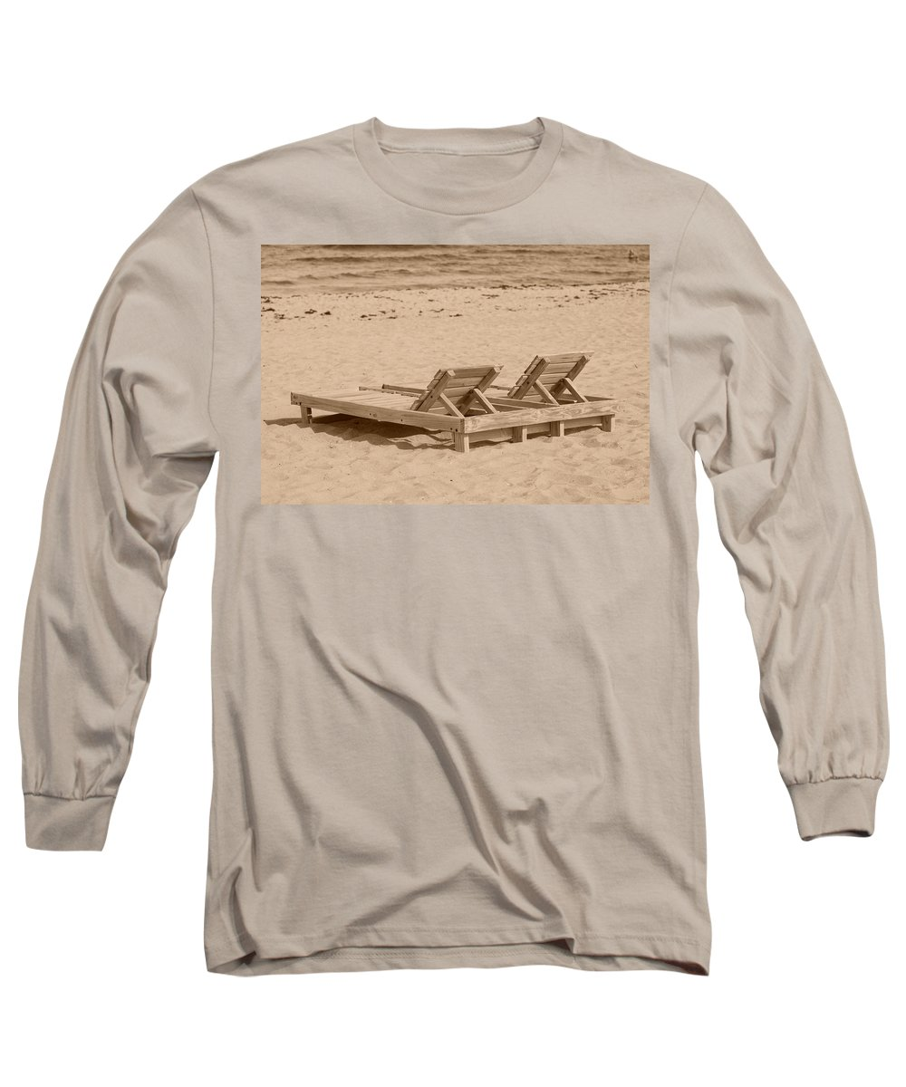 Chez Lounge Long Sleeve T-Shirt featuring the photograph Sepia Chairs by Rob Hans
