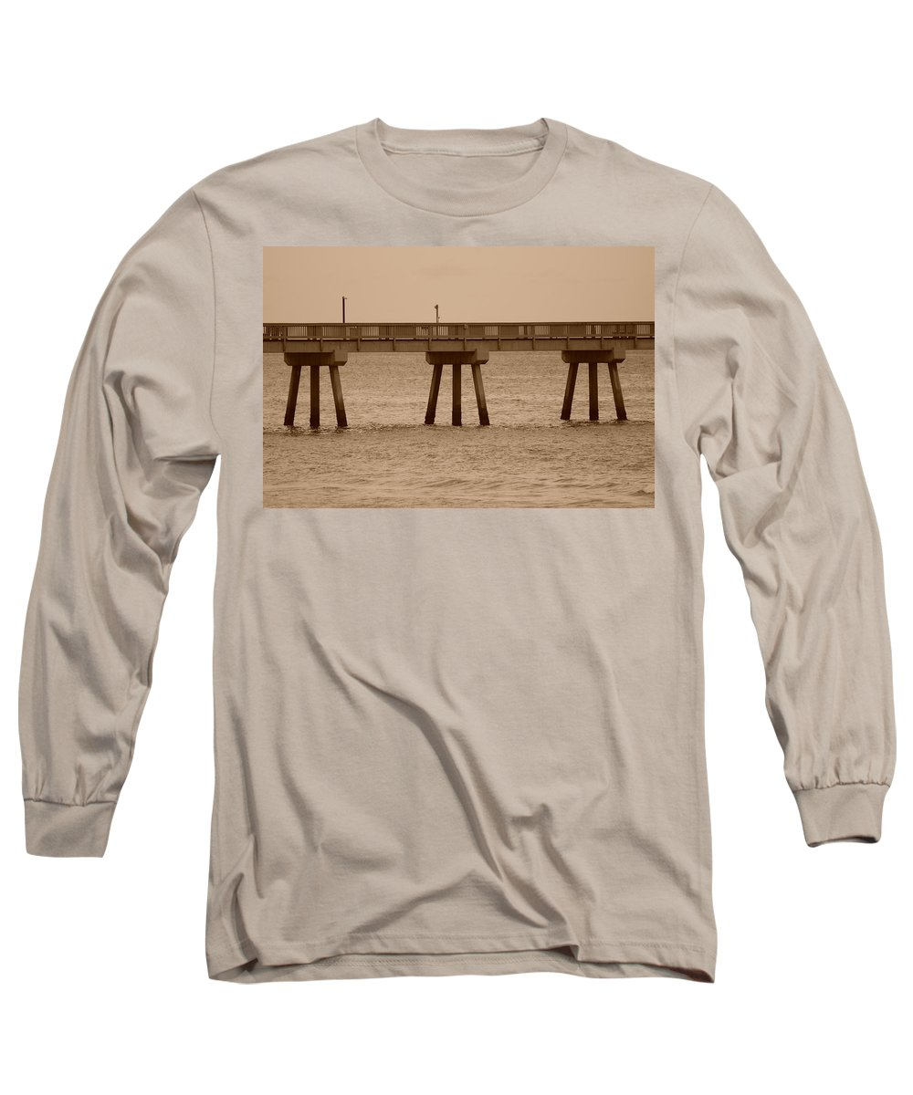 Sepia Long Sleeve T-Shirt featuring the photograph Sepia Pier by Rob Hans