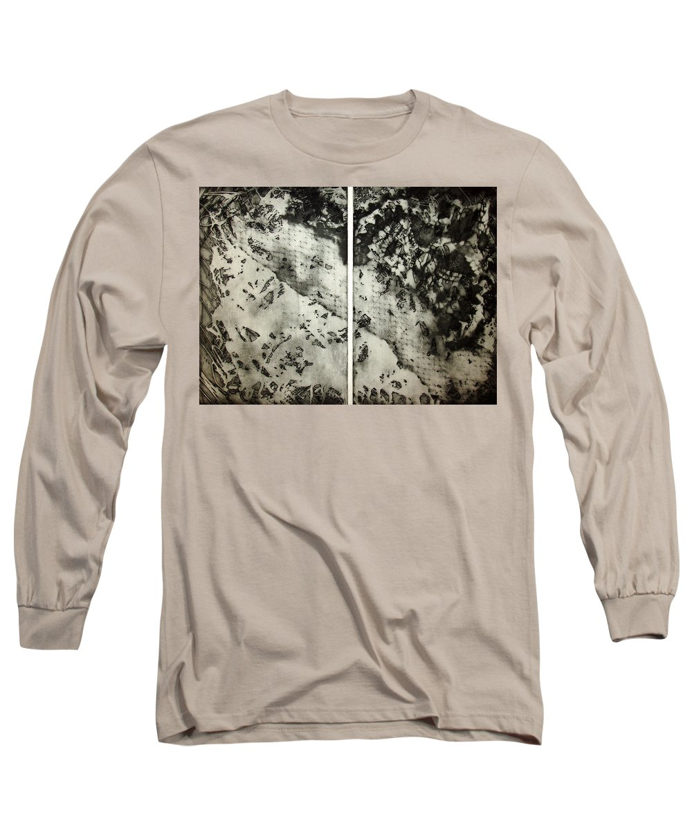 Etching Long Sleeve T-Shirt featuring the drawing Shadows And Lace by Nancy Mueller