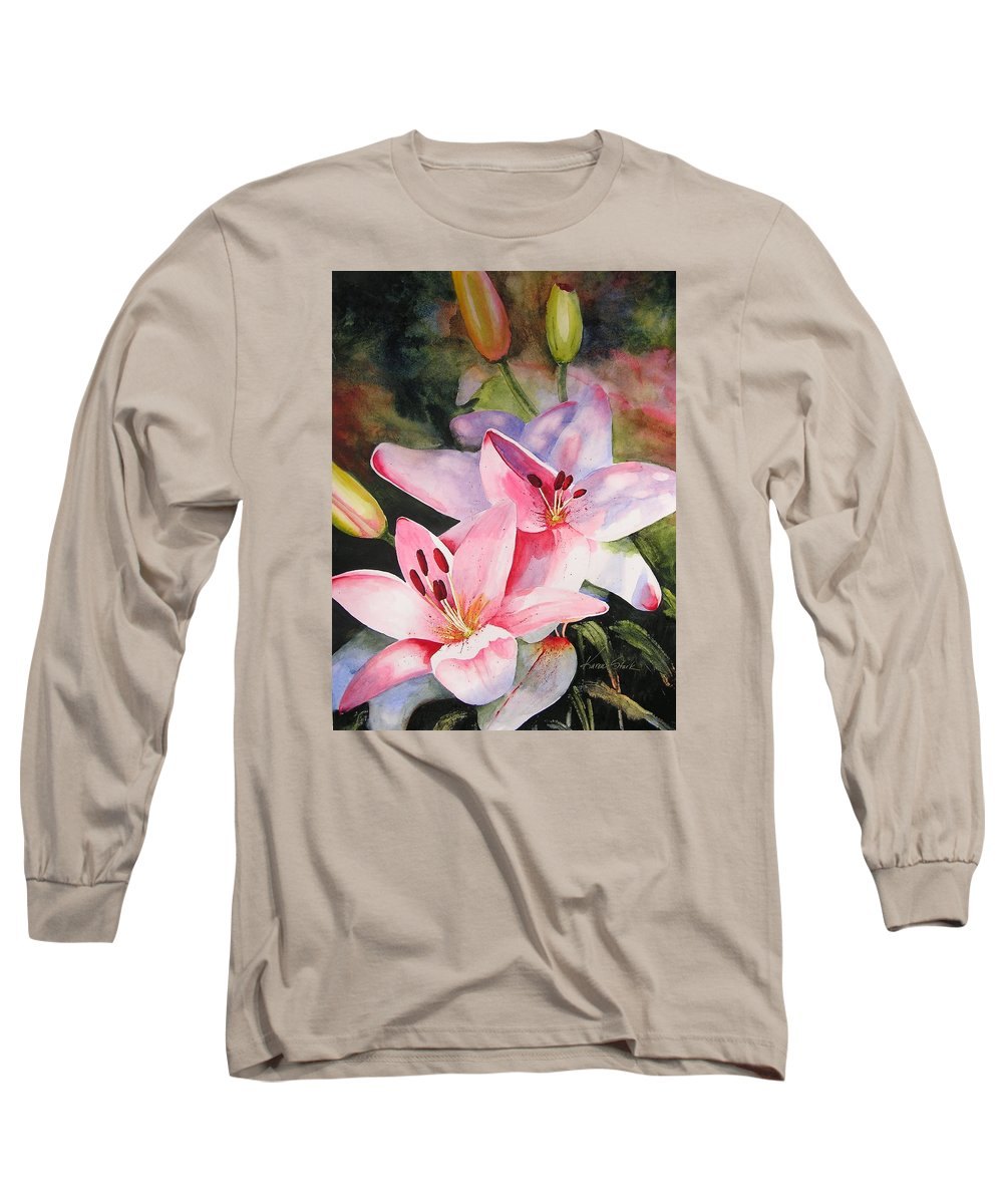 Lilies Long Sleeve T-Shirt featuring the painting Shady Ladies by Karen Stark
