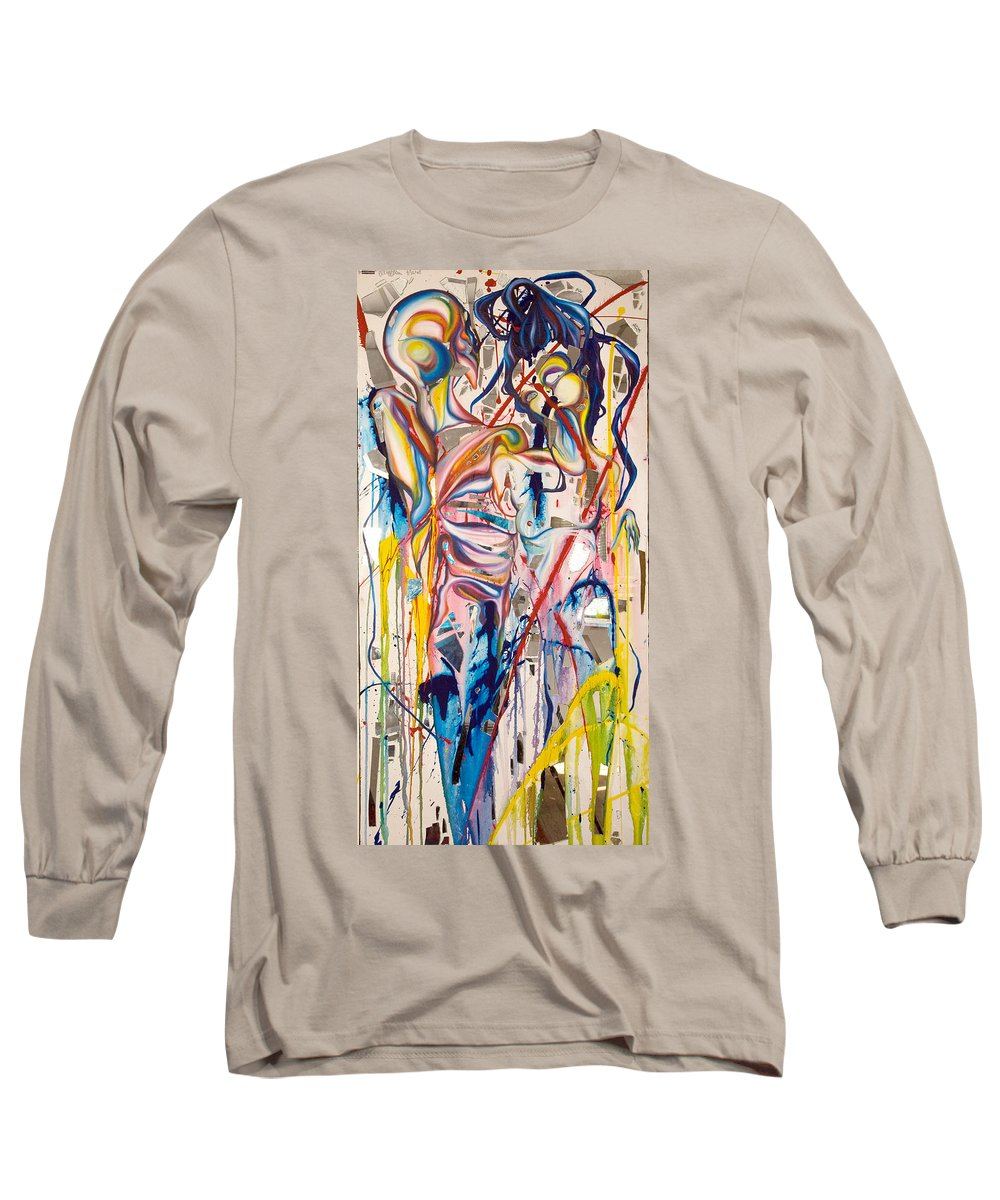 Abstract Long Sleeve T-Shirt featuring the painting Shards by Sheridan Furrer