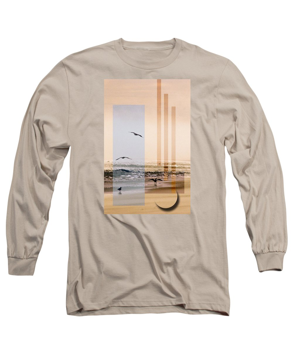 Abstract Long Sleeve T-Shirt featuring the photograph Shore Collage by Steve Karol